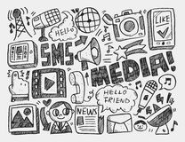 Doodle media background. Vector illustration file Royalty Free Stock Photos