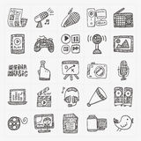 Doodle media icons set Royalty Free Stock Image