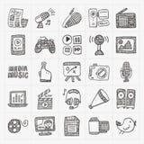 Doodle media icons set Royalty Free Stock Image