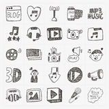 Doodle media icons set Royalty Free Stock Photo
