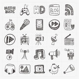 Doodle media icons set Stock Photos