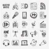 Doodle media icons set Stock Photos