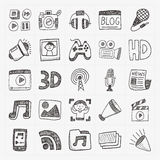 Doodle media icons set Royalty Free Stock Images