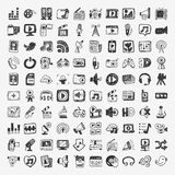 Doodle medialne ikony ustawiać Obraz Stock