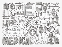 Doodle medical background. Cartoon vector illustration Stock Photos