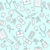 Doodle medical seamless pattern. Set of medicine icons Royalty Free Stock Image