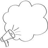 Doodle megafon i rozmowa bąbel royalty ilustracja