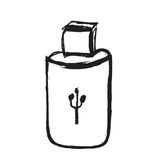 Doodle memory stick, USB stick icon Royalty Free Stock Photo