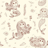 Doodle mermaids seamless pattern brown. Doodle mermaids seamless pattern. Vector sketch background Royalty Free Stock Photo