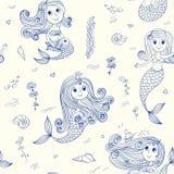 Doodle mermaids seamless pattern Royalty Free Stock Photos