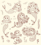 Doodle mermaids set. Stock Image