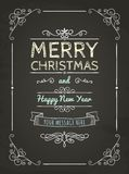 Doodle Merry Christmas Greeting Card. Hand-Drawn Merry Christmas Greeting Card on Chalkboard Texture. Space for Text. Vector Illustration royalty free illustration