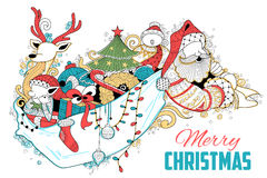 Doodle of Merry Christmas Holiday with Santa Claus Royalty Free Stock Photos