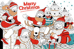 Doodle of Merry Christmas Holiday with Santa Claus Royalty Free Stock Photography