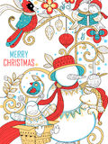 Doodle of Merry Christmas Holiday with Snowman Stock Photo