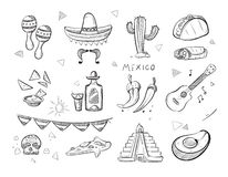 Doodle mexican food, tequila, red hot chili peppers, sombrero, guitar, tacos hand drawn vector icons. Mexican tequila and food, illustration of sketch mexican royalty free illustration