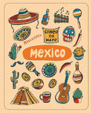 Doodle about Mexico. A set of vector elements of Mexico Royalty Free Stock Photo