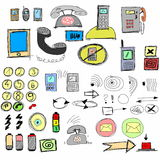 Doodle mobile phones Royalty Free Stock Images