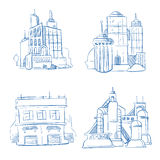 Doodle modern business office, industry factory buildings, warehouse sketch hand drawing vector set Stock Photos