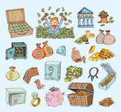 Doodle money icon set , hand drawn illustration Stock Photography