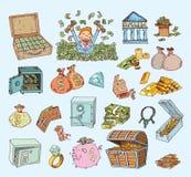 Doodle money icon set , hand drawn illustration.  Stock Photography