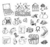 Doodle money icon set , hand drawn illustration.  Royalty Free Stock Image