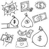Doodle money. An image of a financial symbol doodle set Stock Photo