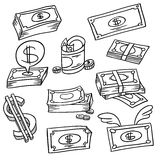 Doodle money. An image of a financial symbol doodle set Royalty Free Stock Images
