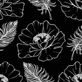Doodle monochrome poppies feathers seamless pattern background texture vector Stock Photo