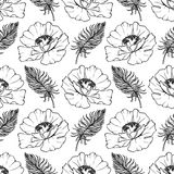 Doodle monochrome poppies feathers seamless pattern background texture vector Royalty Free Stock Photos