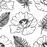 Doodle monochrome poppies feathers seamless pattern background texture vector Royalty Free Stock Images