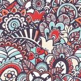 Doodle Monochrome Print. Seamless Floral Background. Stock Photos