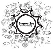 Doodle Monochrome Summer Vacation Elements Set Stock Photography
