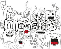 Doodle Monster Collage. Doodle funny crazy monster collage Stock Image