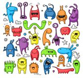 Doodle monster collection Royalty Free Stock Image