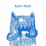Doodle monster. Hand drawn sketch illustration. Funny character drawn with blue pen isolated on a white background. stock illustration