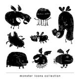 Doodle monster icon, vector illustration. Royalty Free Stock Photo