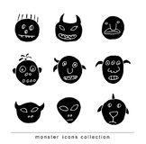 Doodle monster icon, vector illustration. Royalty Free Stock Photography