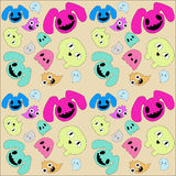 Doodle monster pattern. Abstract cute doodle monster pattern design Stock Images