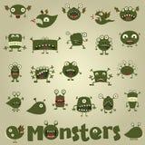Doodle monster set. For web design Royalty Free Stock Image