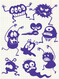 Doodle monsters-. Silhouettes of doodle monsters-bacteria-aliens Stock Photos