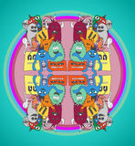 Doodle monsters pattern. Funny doodle monsters pattern in bright colors Royalty Free Stock Photo