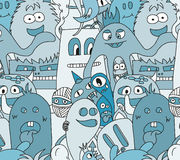 Doodle monsters seamless pattern Stock Photography
