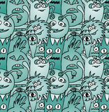 Doodle monsters seamless pattern. In blue colors Stock Photography