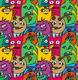 Doodle monsters seamless pattern Stock Image