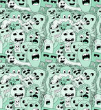 Doodle monsters seamless pattern. Doodle green monsters seamless pattern Stock Photo