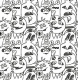 Doodle monsters seamless pattern. Monocromatic vector image Royalty Free Stock Photography
