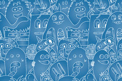 Doodle monsters seamless pattern. Monocromatic vector image Royalty Free Stock Images