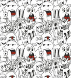 Doodle monsters seamless pattern. Monocromatic vector image Stock Photo