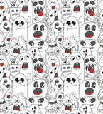 Doodle monsters seamless pattern. Royalty Free Stock Photography